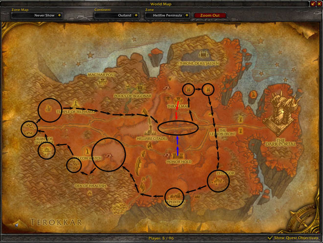 Hellfire Mining Route Map