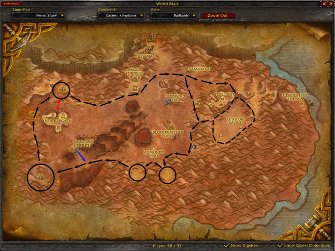 Badlands Mithril Mining Route
