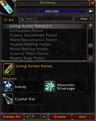 Living Action Potion Materials