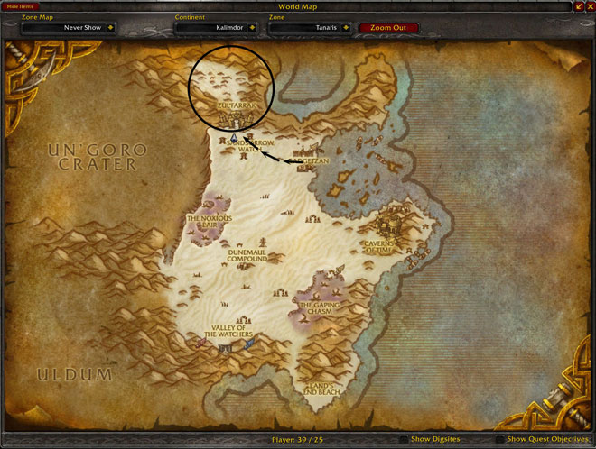 Tanaris Zul'Farrak Location Map