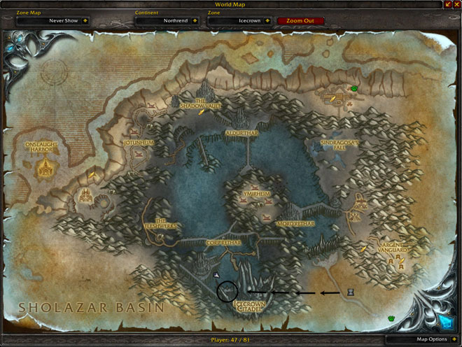 Pit of Saron Location Map