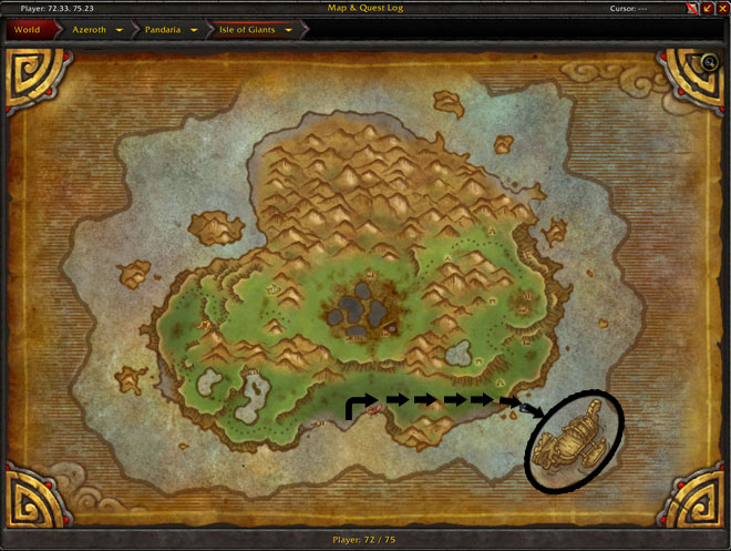 Zandalari Ship - Map Location