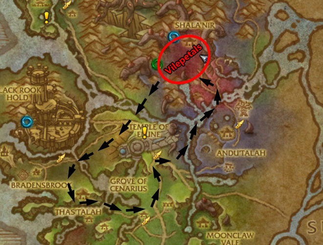 Val'sharah Herb Gathering Route - Map